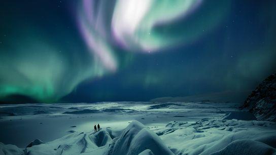 Northern Lights over the Skaftafellsjökull Glacier in east Iceland.