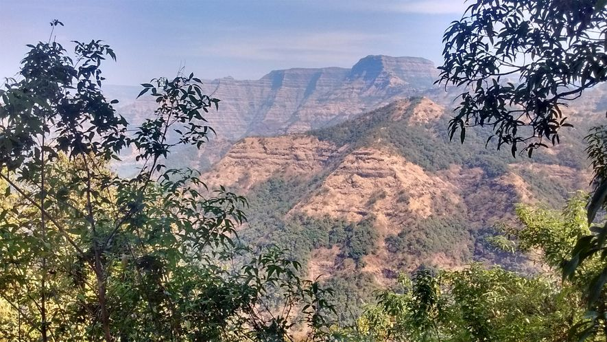 These mountains in India's Western Ghats region are made of many layers of lava flows from ...