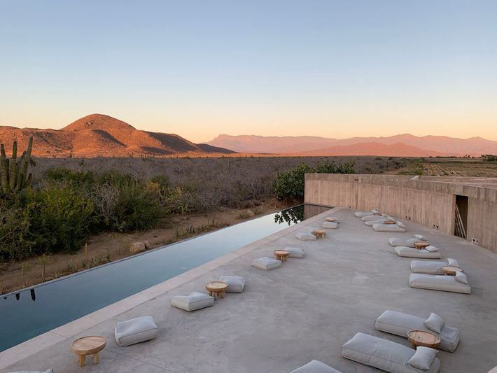 The pool area at Paradero Todos Santos, a brutalist-inspired retreat in the desert of Mexico's Baja ...