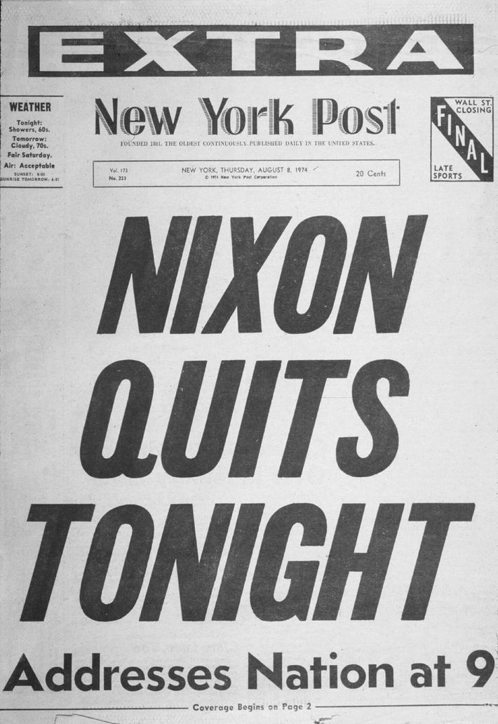Amid a mounting impeachment investigation, President Richard Nixon resigned from office before he could be formally ...