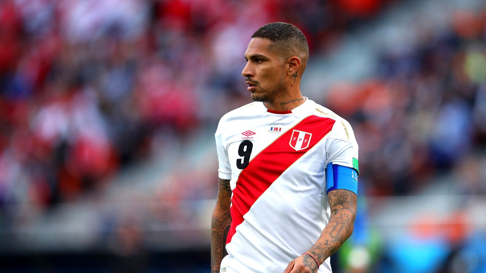 Paolo Guerrero in action during the 2018 FIFA World Cup Russia match between France and Peru ...