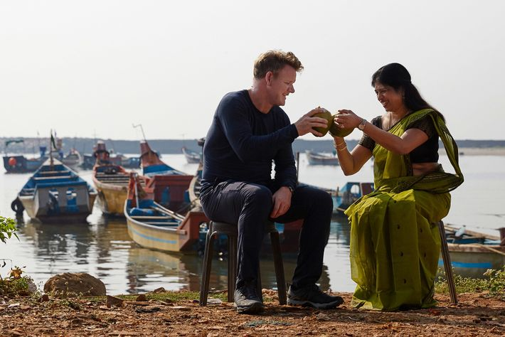 While filming in Kanur, India, Gordon Ramsay and chef Shri Bala sample the region's fresh coconut ...