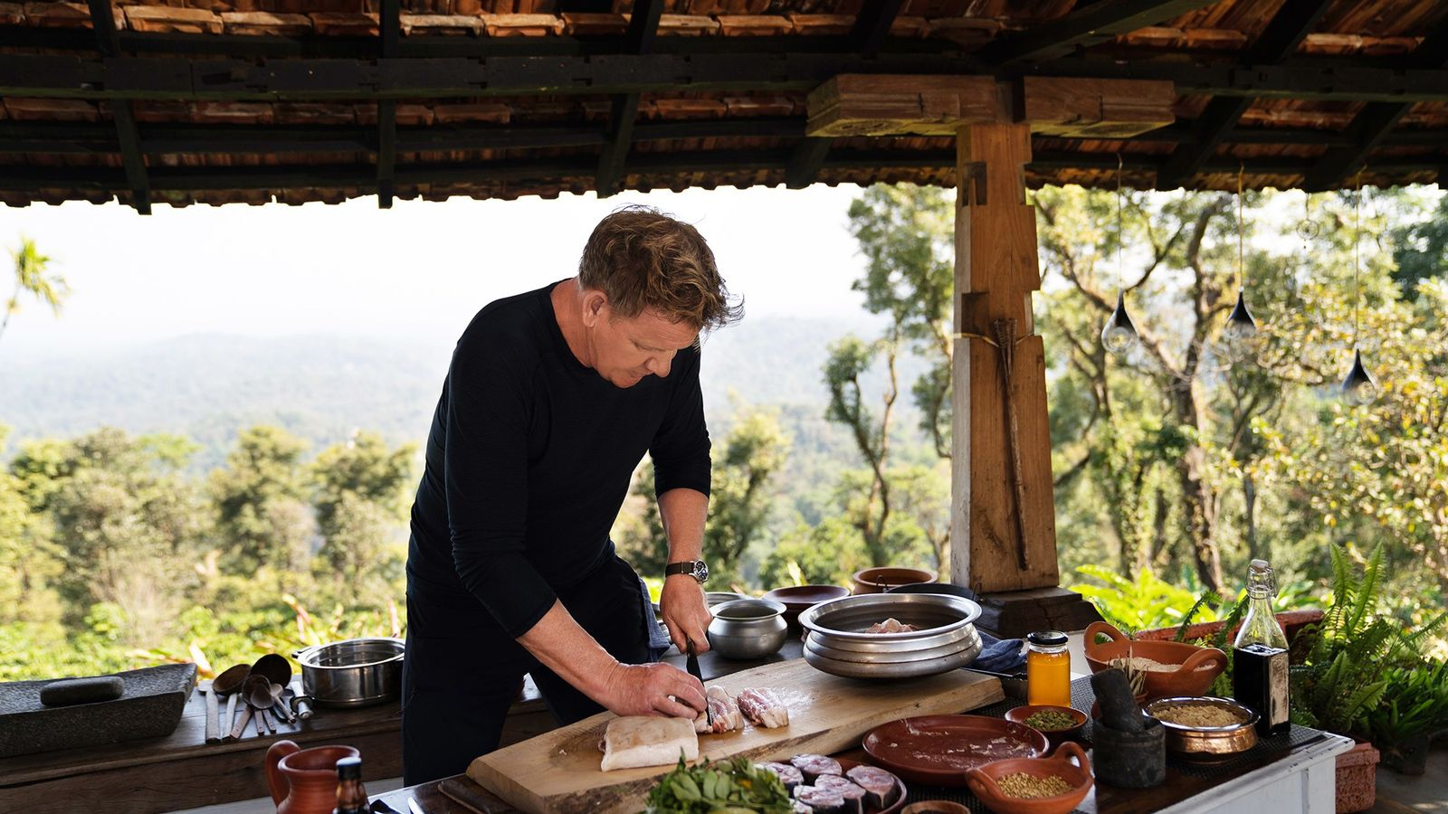 While filming Season 2 of National Geographic Channel's Gordon Ramsay: Uncharted, the star chef preps a ...