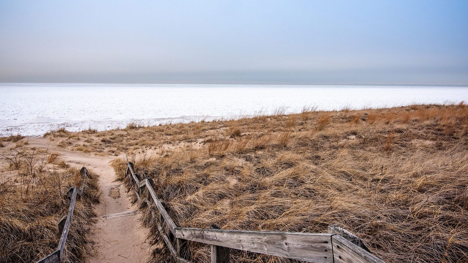 The frozen expanse of Lake Michigan crowds against shoreline dunes at Indiana Dunes National Park.