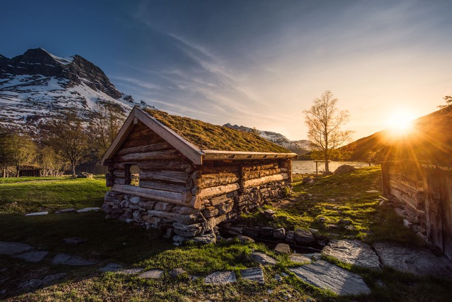 """""""This is one of the old Renndølsetra cabins in Innerdalen, captured in mid May just after ..."""