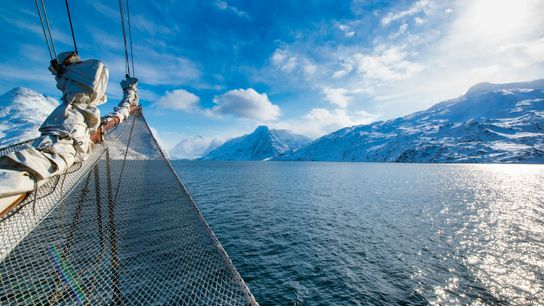 View from a vessel in the Arctic Ocean in Greenland.