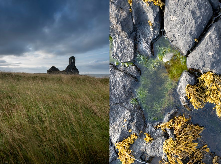 A ruined chapel and a rockpool on the windy St.Michael's Isle, just at the end of ...