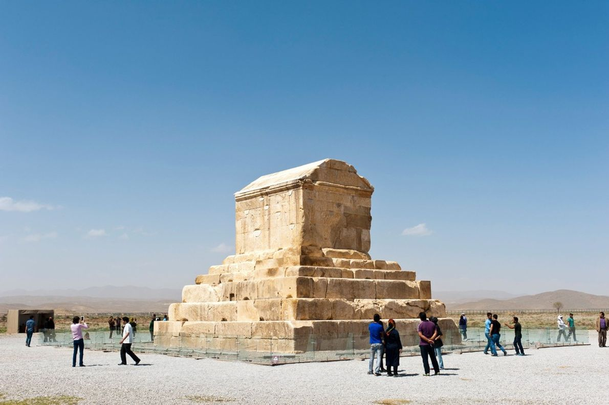 The tomb of the Persian Emperor Cyrus the Great, who ruled from 559 to 530 B.C., ...