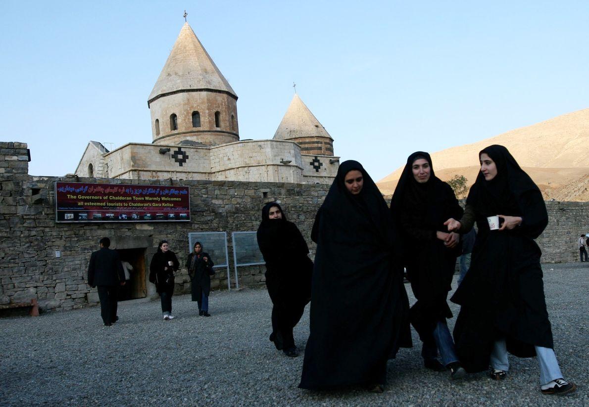 Iranian Muslim women visit the UNESCO world heritage site of the Qara Kelisa (Black Church) in ...