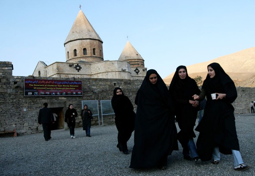 Iranian Muslim women visit the UNESCO world heritage site of the Qara Kelisa (Black Church) in ...