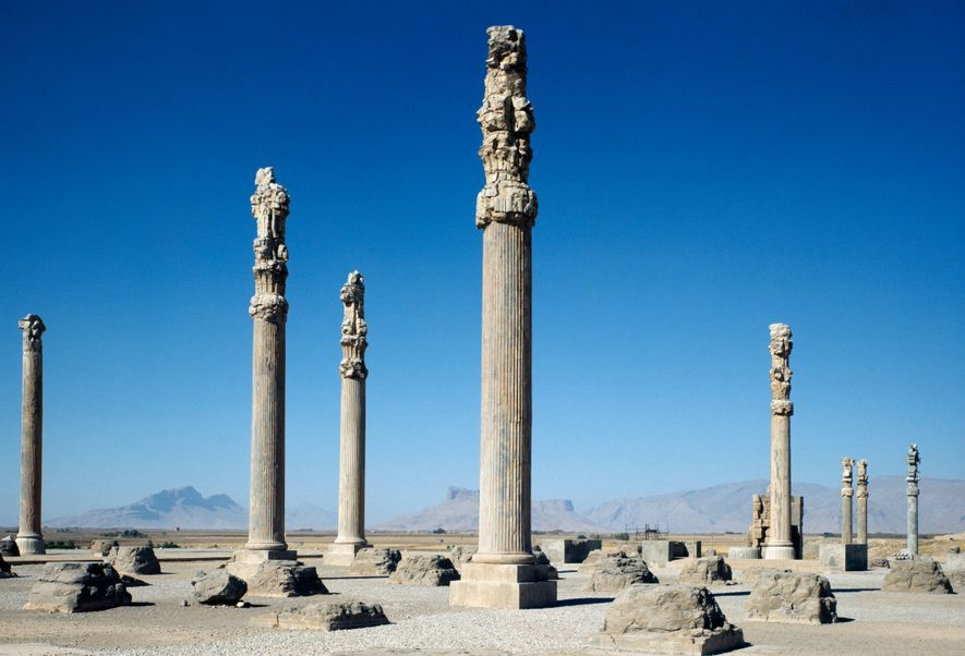 Columns from a 2,500-year-old royal palace rise at the site of Persepolis, the ancient Persian capital ...
