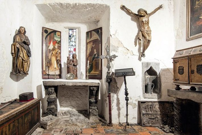Religious artefacts in a room at Bunratty Castle near Limerick, West Ireland. Image: Scott Wishart