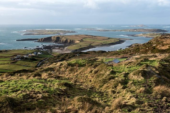 View from the Sky Road overlooking Belleek and out towards the Atlantic Ocean, Wild Atlantic Way, ...