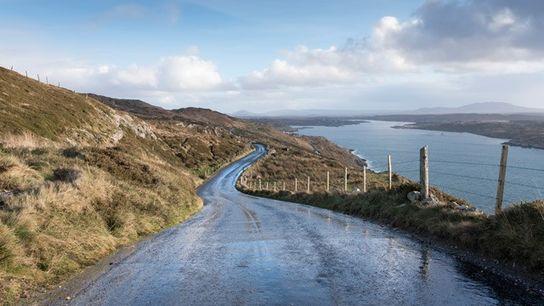 Sky Road looking towards Clifden in Connemara, Wild Atlantic Way, West Ireland.