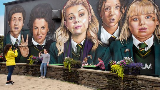 Mural of the hit Channel 4 series Derry Girls, painted on the wall of Badger's Bar, ...