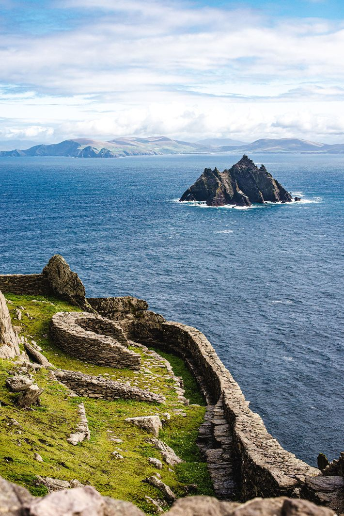 the view across to Little Skellig and the mainland from the sixth-century monastery on Skellig Michael
