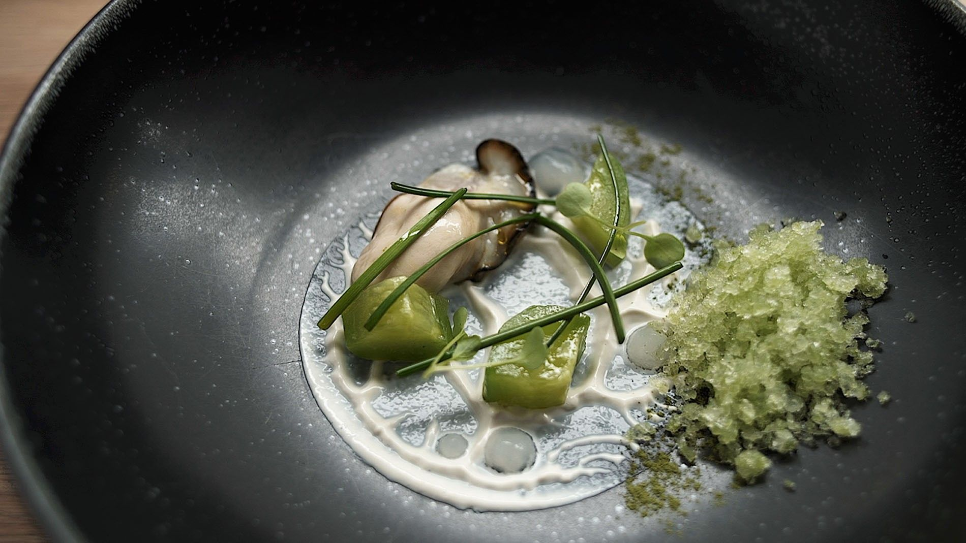 Dish of oyster, cucumber and arrow grass at Aniar, a Michelin-starred restaurant in Galway.