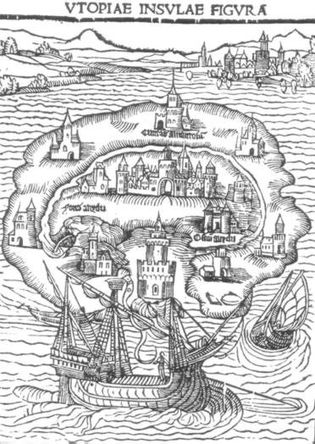 The L'Isola di Utopia, an illustration from the cover of Thomas More's book of 1516. More ...