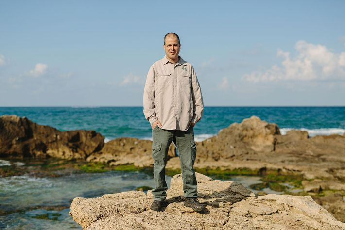 Shai Koren, district manager of Upper Galilee Israel Nature and Parks Authority, standing on the Mediterranean ...