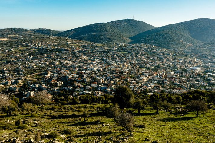The Druze Israeli town of Hurfeish, seen from Mount Zvul.