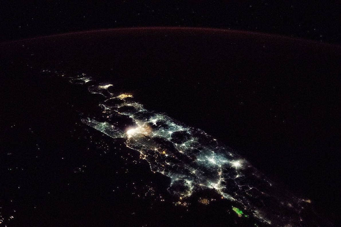 Indonesia's island of Java pops out like an electric jewel against the darkness of the Indian ...
