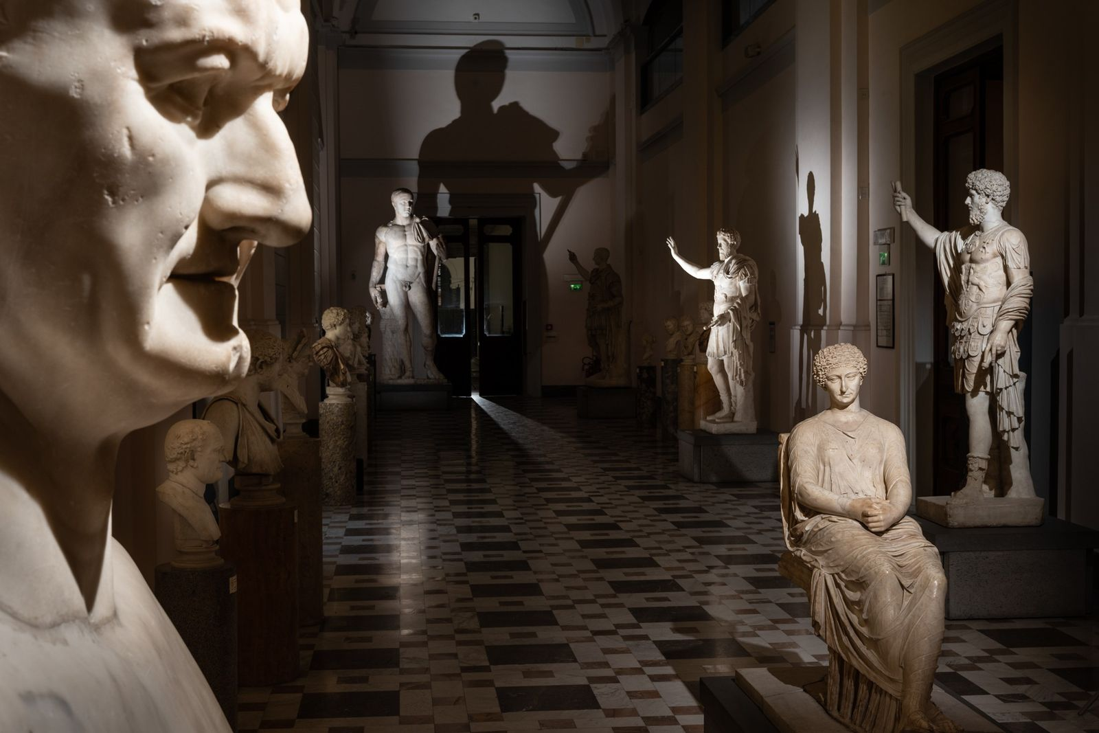 A first-century A.D. portrait of the Roman emperor Vespasian glowers from foreground left in the National ...