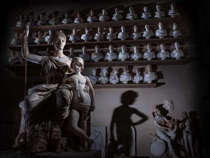 19th-century plaster casts of ancient sculptures, once used to teach art students, line the walls of ...