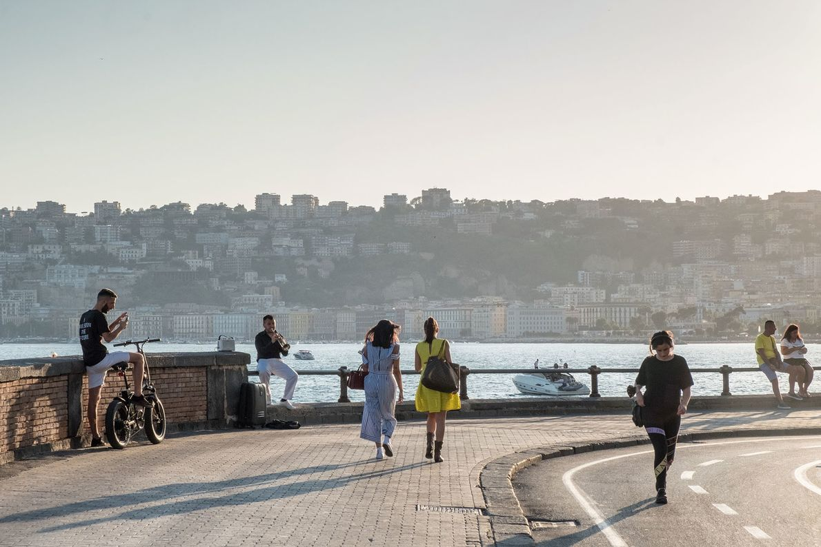 Seafront near Chiaia, with Posillipo in the background.