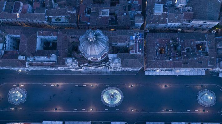 Italy: the Fontana dei Quattro Fiumi in Rome's Piazza Navona in early morning light.