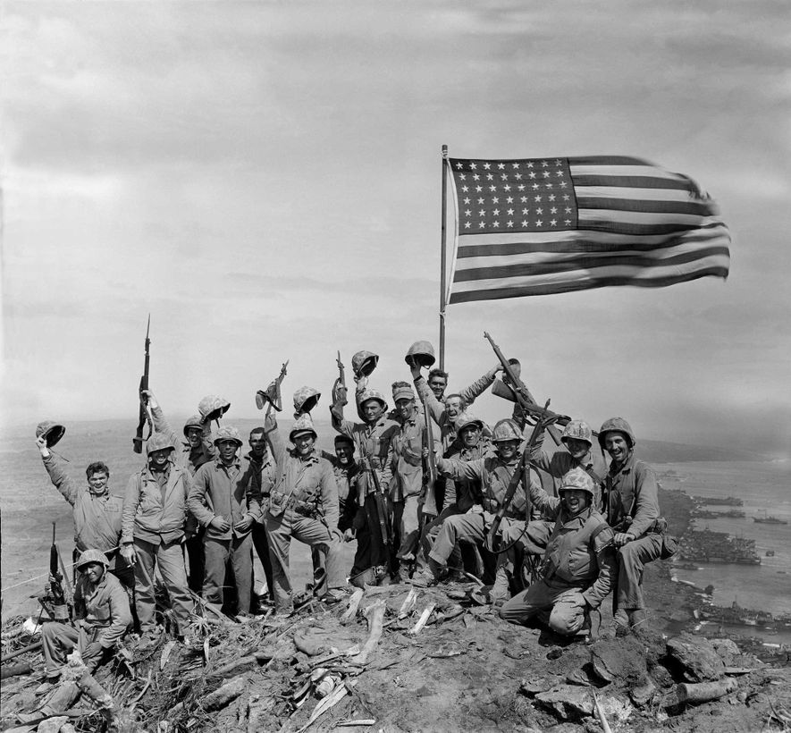 After snapping the unposed flag-raising photo atop Mount Suribachi, Rosenthal asked 16 Marines—including Jack Thurman, at ...
