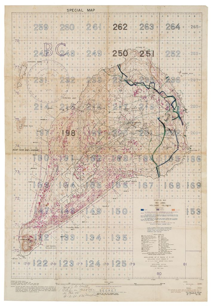 "A ""Special Air and Gunnery Target Map"" compiled from aerial reconnaissance photos of Iwo Jima shows ..."