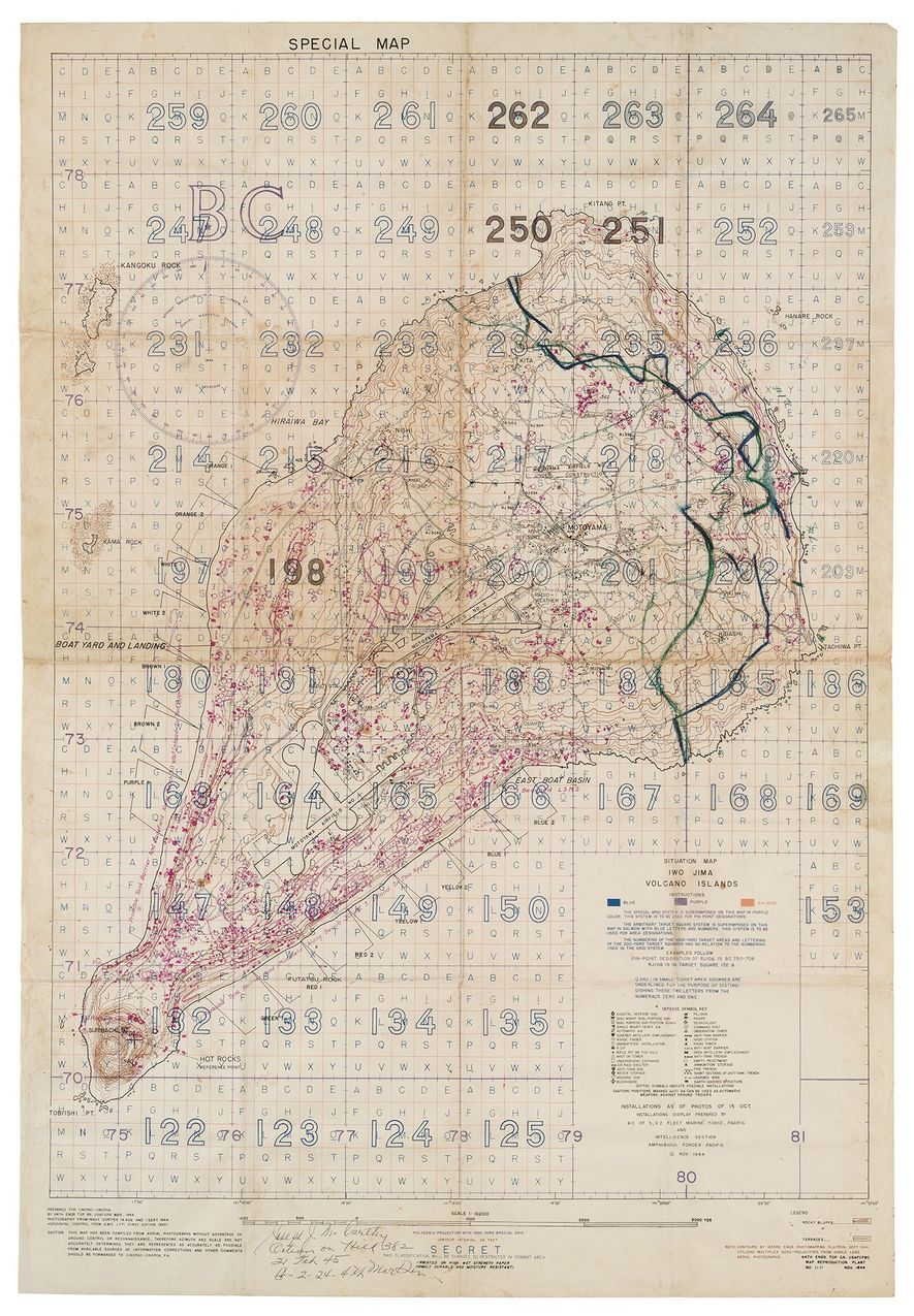 """A """"Special Air and Gunnery Target Map"""" compiled from aerial reconnaissance photos of Iwo Jima shows ..."""
