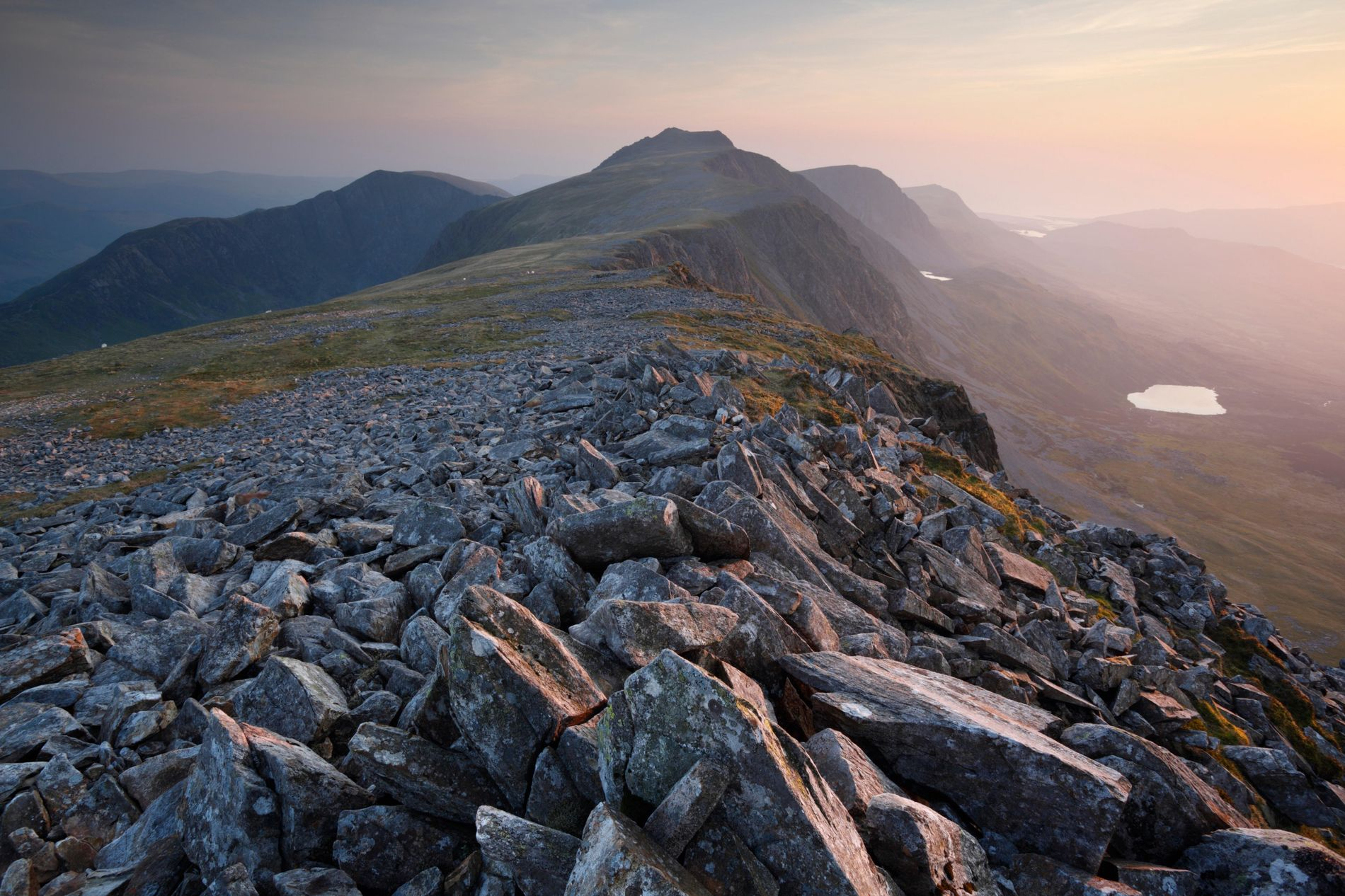 A view along the ridgeline of Cadair Idris, the sprawling mountain range that forms the southern ...