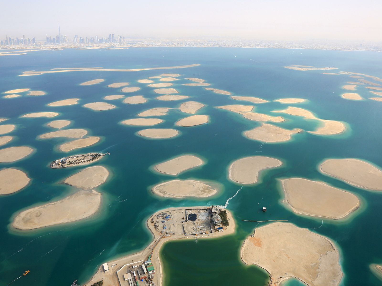 The World, an artificial island development in Dubai loosely shaped to resemble a map of the ...
