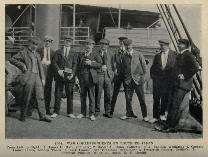 Jack London (fifth from left) and 'The Vultures' – a team of war reporters sent to ...