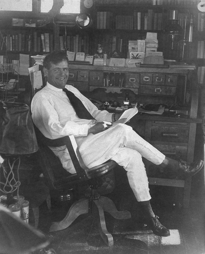 Jack London in his office in California, shortly before his death in 1916.