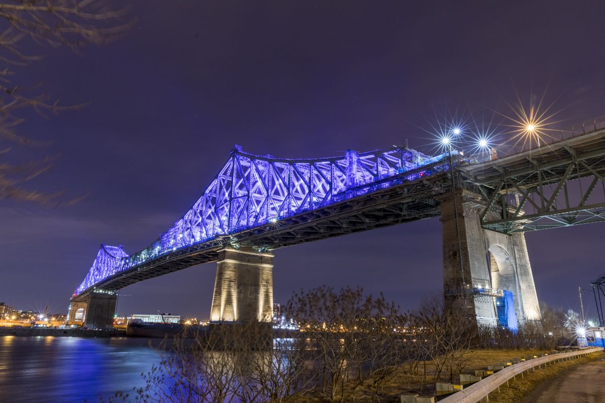 The 88-year old Jacques Cartier Bridge has been loaded with LED illuminated lighting and linked to ...