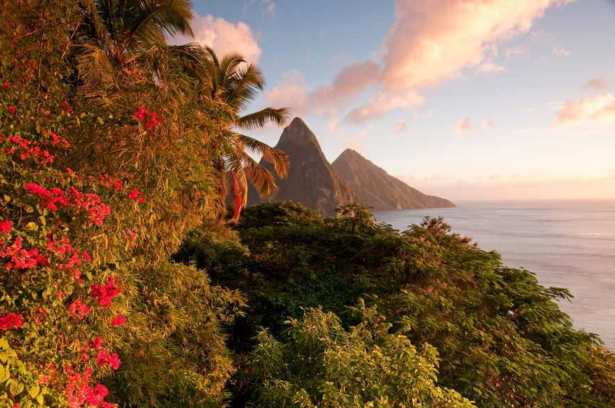 Known as one of the most romantic resorts in the world, architectural wonder Jade Mountain in ...