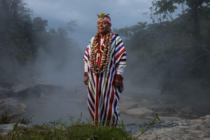 Peruvian shaman Maestro Juan Flores stands by the Boiling River, once avoided by locals because of ...