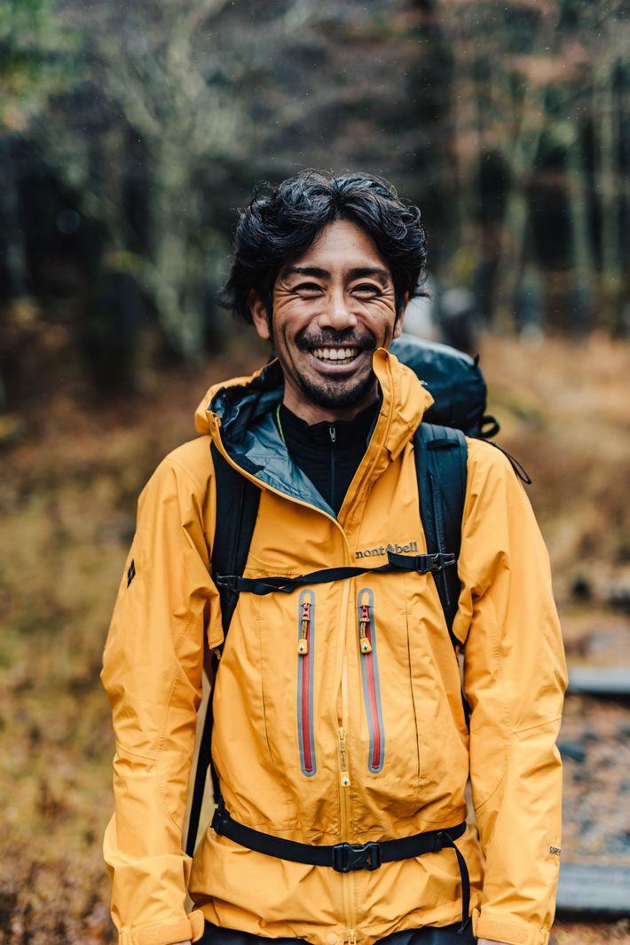 Hiker Hayashi Naoki on the Yoshida Trail, Mount Fuji.