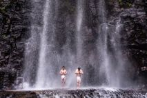 Worshippers brave the cold temperatures of Kiyotaki Falls near Otaki fora traditional 'water cleansing' ceremony.