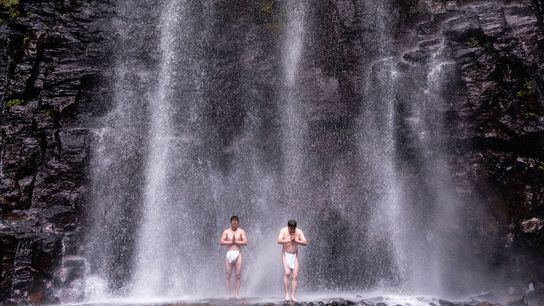 Worshippers brave the cold temperatures of Kiyotaki Falls near Otaki for a traditional 'water cleansing' ceremony.
