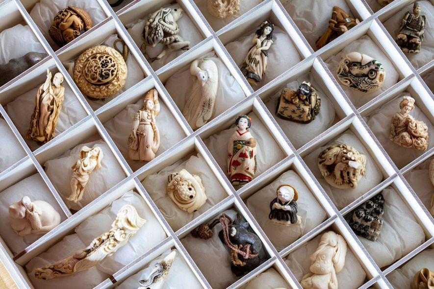 A collection of modern netsuke at the Kyoto Seishu Netsuke Art Museum. The museum sponsors an ...