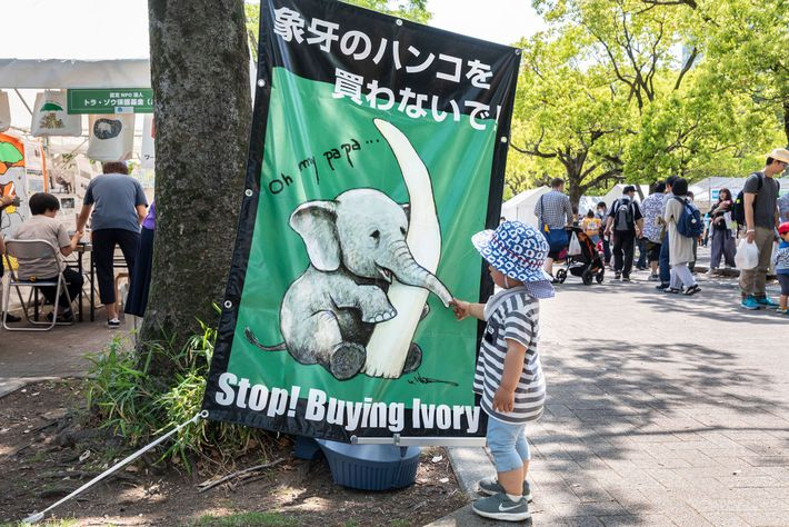 An anti-ivory poster at an Earth Day event in Tokyo. The Japanese public responds best to ...