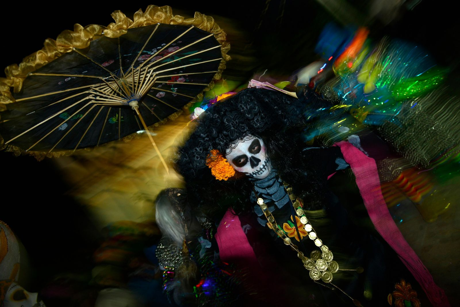 A Day of the Dead celebrant dressed as La Catrina Calavera during the festivities in Oaxaca.