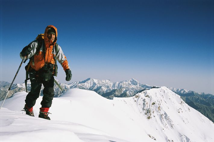 Climber Galen Rowell looks toward Chin's camera on the Chang Tang Plateau in Tibet.