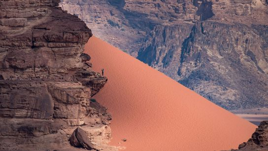 Wadi Rum is Jordan's largest valley. Many visitors walk or drive through this rugged landscape, but ...