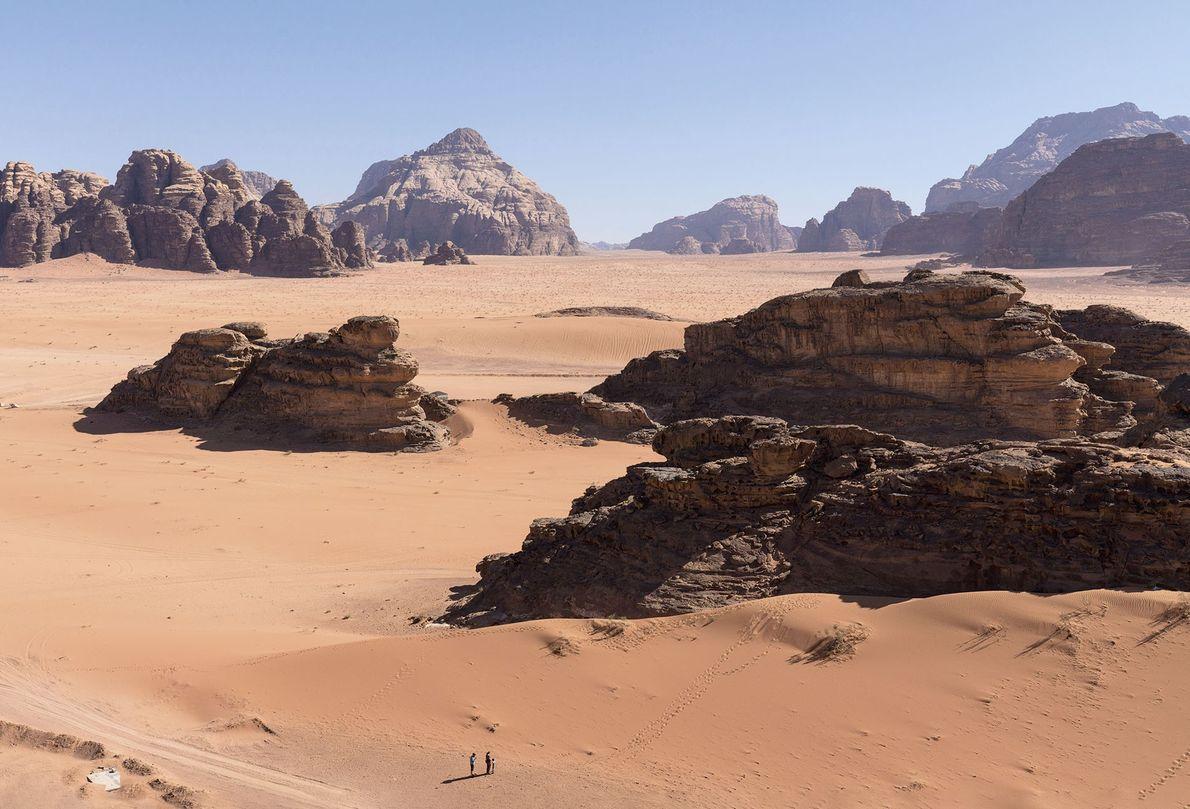 Sandstone formations in Wadi Rum.