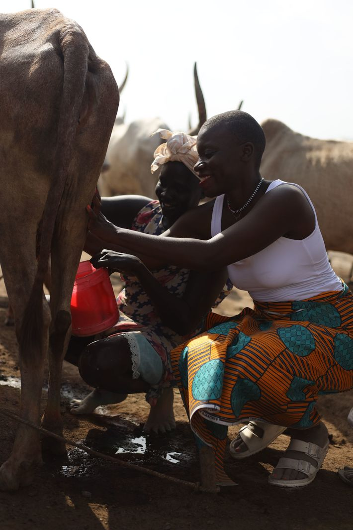 Jessica visiting a cattle camp in South Sudan.