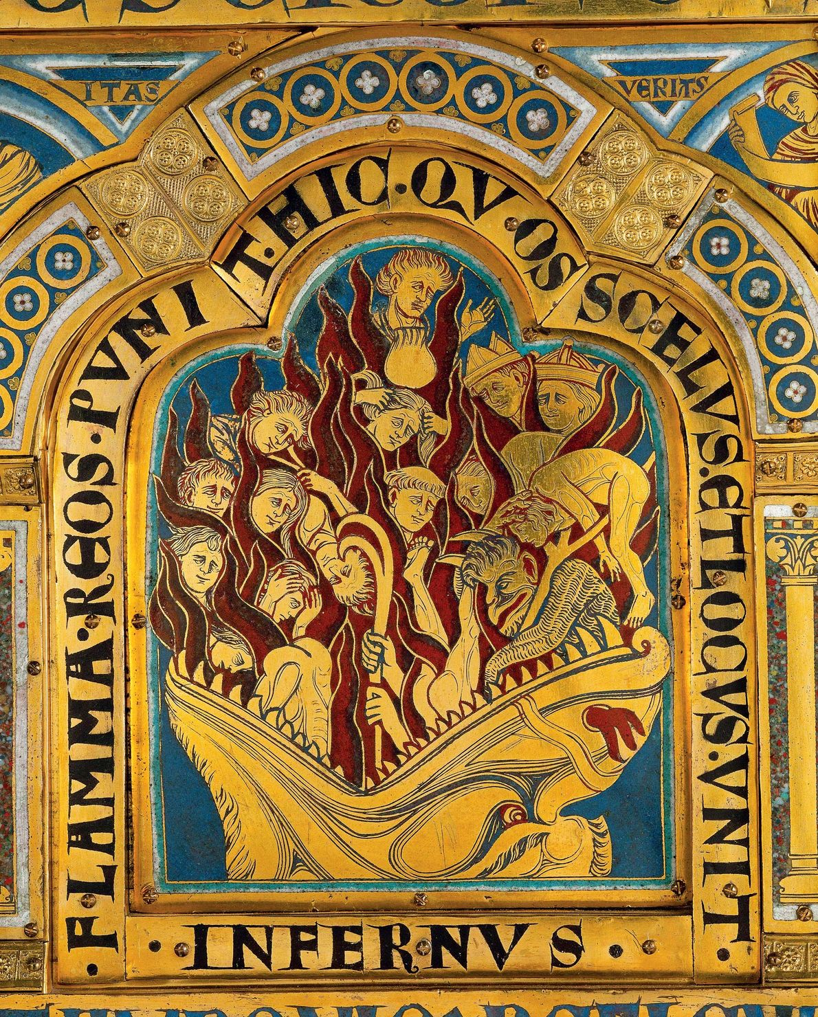 The damned enter the inferno in this altarpiece by Nicholas of Verdun, late 12th century, Cathedral ...